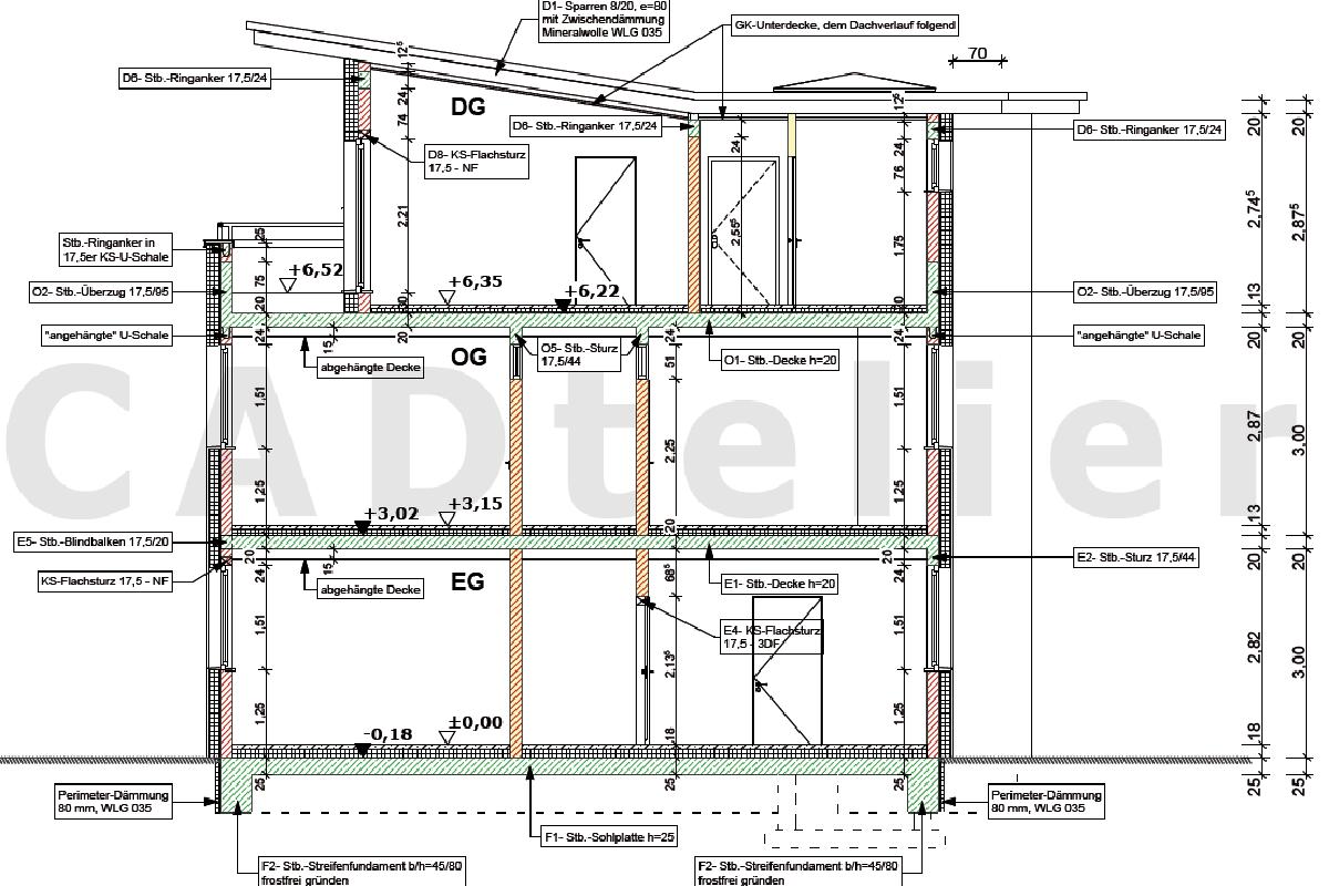 Schnitt Zeichnen ausführungspläne werkpläne cad atelier cad zeichenbüro cad